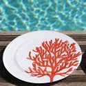 6 Coral Red Plates